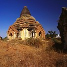 Low angle view of the old ruins of a pagoda, Bagan, Myanmar