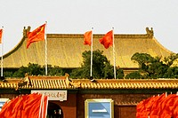 Chinese flag fluttering on a building, Forbidden City, Beijing, China