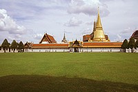 Formal garden in front of a temple, Wat Phra Kaew, Grand Palace, Bangkok, Thailand