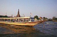 Passenger craft in a river, Chao phraya river, Bangkok, Thailand