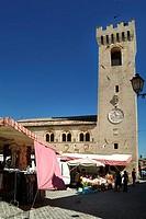 europe, italy, marche, palazzo del podestà, weekly market