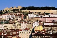 portugal, lisbon, baixa and castelo sao jorge area