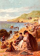 Seaside holiday scene  Families sitting decorously on the beach in clothing though appropriate  In the background bathing machines are in use  Kronhei...