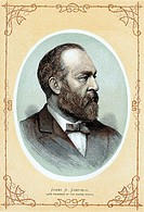 James Abram Garfield 1831-1881 20th President of the United States  Shot 2 July, died 19 September  Colour-printed wood engraving