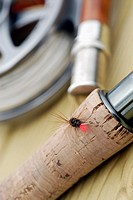 Close-up of a fishing lure on a fishing rod