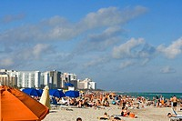 Tourists on the beach, Miami Beach, Florida, USA