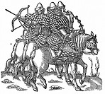 Mounted Muscovite warriors equipped with bows and arrow, swords and quilted armour  Woodcut 1556