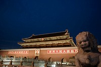 China, Beijing, Tiananmen Square, Gate of Heavenly Peace, night