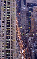 USA, New York, Fifth Avenue, street, dusk, aerial view