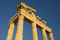 Turkey, Side, Temple of Athena, low angle view
