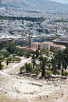 Greece, Athens, Theatre of Dionysos, elevated view