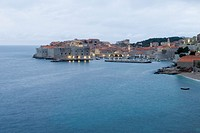 Croatia, Dalmation Coast, Dubrovnik, old town and waterfront illumated at dawn