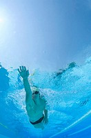 Competitive swimmer, underwater view