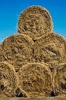Stack of rolls of hay, close-up