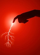 Concept, Lifestyle, Hand close-up, Lightning bolt from finger,