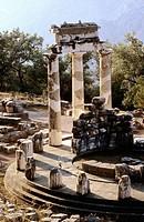 Morning. Tholos. Delphi Temple. Greece