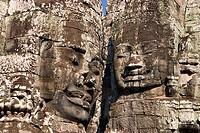 Carvings representing king Jayavarman VII, Bayon temple, Angkor Thom, Siem Reap, Cambodia