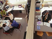 People working in office, elevated view