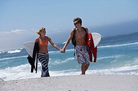 Young couple walking along beach, carrying surfboards under arm, holding hands