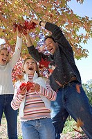 Family playing with autumn leaves in park, pulling on branch, laughing, low angle view