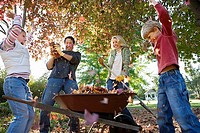 Family collecting autumn leaves in wheelbarrow in garden, parents and children 6-9 throwing leaves