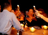 People Toasting in a Bar