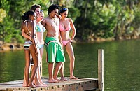 Five young adults, in swimwear, standing side by side on lake jetty, smiling, side view