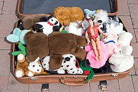 Suitcase with stuffed animals