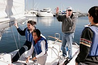 Florida, Coconut Grove, Biscayne Bay, Shake-A-Leg Dock, FIU sailing class, students, senior male teacher