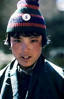 Bhutan, Himayalan trail, Portrait of young native boy