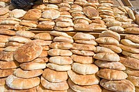 Sudan, Karima, bread on sale at the market