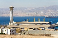 Jordan, Aqaba, harbour and Eilat on Israelian bank