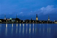 Latvia, Old Town at night