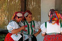 Hungary, Hollok÷, women wearing traditional costumes