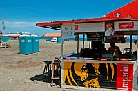 Costa Rica, Puerto Limon, during carnival, beach bar (thumbnail)
