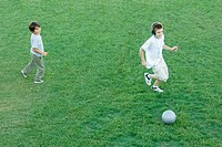 Two boys playing ball on lawn, high angle view
