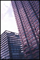 Blurred shot of buildings at an angle