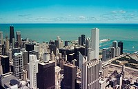 Chicago skyscrapers and lake michigan