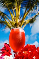 A bright red tropical cocktail garnished with flowers in outdoor setting