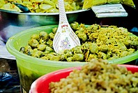 Thailand, Bangkok, Close-up of unusual delicacies found at street vendor food stalls (thumbnail)