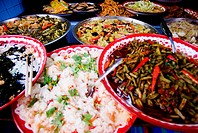 Thailand, Bangkok, Close-up of unusual delicacies found at street vendor food stalls