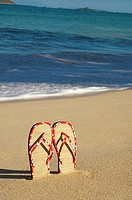 Woven top slippers, with red Hawaiian print edging, standing upright in sand, ocean behind