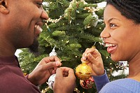 Married Couple Decorating Christmas Tree