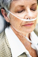 Senior Woman with Oxygen Tube