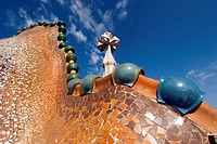 Antonio Gaudi's dragon back roof of Casa Batllo in Barcelona. Spain