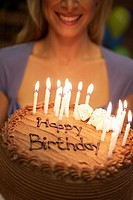 Woman Holding Birthday Cake