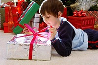 Boy opening gift