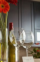 Pair of wine glasses in kitchen