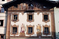 Wood, carving, Huber, house, front, with, paintings, Berchtesgaden, Bavaria, Germany,