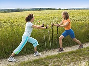 Women, stretching, gymnastic, exercises, nordic, walking,